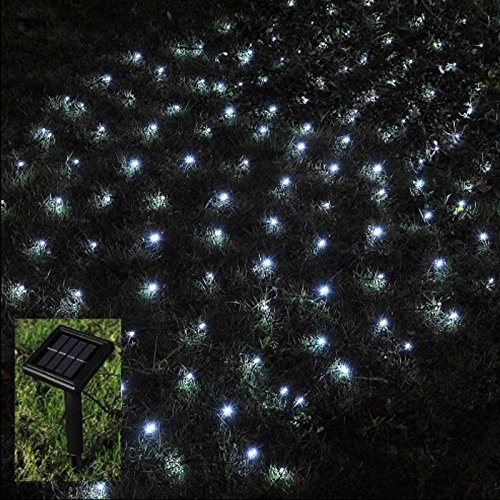 Babz 105 Led Outdoor Net String Christmas Fairy Lights Solar Powered Garden Amazon Co Uk Garden Outdoors