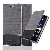 Cadorabo Hülle für Huawei P8 LITE 2017 - Hülle in GRAU SCHWARZ – Handyhülle mit Standfunktion und Kartenfach im Stoff Design - Case Cover Schutzhülle Etui Tasche Book