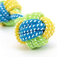 Foodie Puppies Durable Cotton Rope Braided Ball Play Fetch Toy for Small to Medium Dogs Interactive Teething Rope Toy to Play with (Color May Vary)