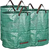 WHT Confezione da 3 Grandi Sacco da Giardino 272L Resistenti con Manici, Sacchetto Foglie Verdi con Tessuto in PP (H76 cm, D67 cm)
