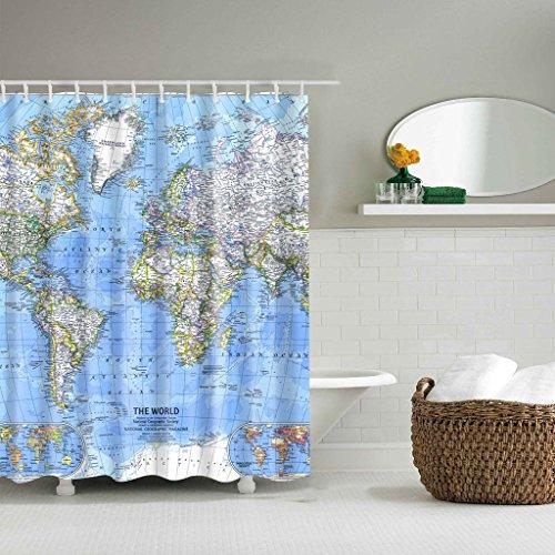 GUBENM Duschvorhang, Die Weltkarte Badezimmerdekor Duschvorhang Panel wasserdicht Stoff mit 12 Haken Dusche Vorhang-stab-hardware