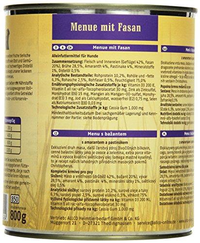 Christopherus Alleinfutter für Hunde, Nassfutter, Gluten- und getreidefrei, Fasan/ Amaranth/ Pastinake, Exklusives Fleischmenü 800 g - 4
