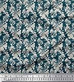 Soimoi Blau Baumwolle Ente Stoff Blätter & Blumen