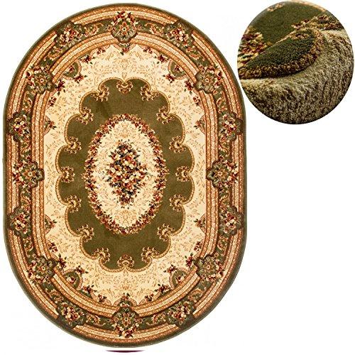 Traditionelle Ovale Teppich (Carpeto Teppich OVAL Klassisch Orientalisch Ornamente Muster 3D-Effekt Konturenschnitt (200 x 300 cm, Grün))