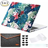 """miger Macbook pro 13""""Caso 2017& 2016, carcasa rígida Carcasa para A1706/A1708 multicolor Palm leaves/Red Flowers 13 Inches(Model A1706/A1708)"""