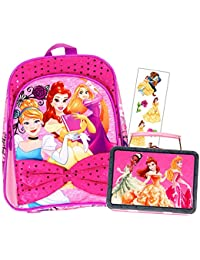 "Disney Princess Preschool Backpack Toddler (11"") With Mini Disney Princess Lunch Box/Snack Tin"