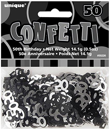 Unique Party - 55226 - Confettis - 50ème Anniversaire - Noir Glitz 0011179552269