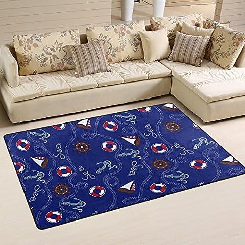 Coosun Bleu marine ancres Motif nautique Zone Tapis Moquette antidérapant Tapis de sol Paillasson pour salon Chambre à coucher 152,4x 99,1cm, Tissu, multicolore, 31 x 20 inch