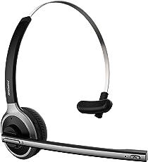 Mpow Bluetooth Headset, LKW Bluetooth Headset, Leicht Kopfhörer mit 13 Stunden, Wireless PC Headset mit Mikrofon, drahtlos Chat Headset für PC, Handy, VoIP, Skype, Call Center, Büro, LKW, Auto usw.(Smart Telefonwahl)