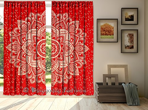 Tabelle Panel (Indian Red Ombre Mandala Baumwolle Fenster Gardinen 2 Panel Tabelle Door Volants Set 213,4 x 203,2 cm von bhagyoday Fashions)
