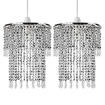 Pair of - Modern Sparkling Chrome Acrylic Crystal Jewel Bead Effect Ceiling Pendant Light Shades
