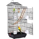 Yaheetech Cage à Oiseaux 46 x 35,5 x 99 cm avec 3 Jouets Poignée Portable 4 Mangeoires 3 Perchoirs Cage pour Perruche Calopsi