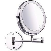 Amelar 8 Pouces LED Mural Miroirs de Maquillage, Miroir Grossissant Mural, 1x/10x grossissement Batterie Alimenté par…