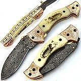 Fait main couteau à lame en acier damas forgée à la main avec fourreau poignée de os de chameau et acier gravé et à l'intérieur de la poignée une belle oeuvre d'art avec du cuivre et du laiton TM-28
