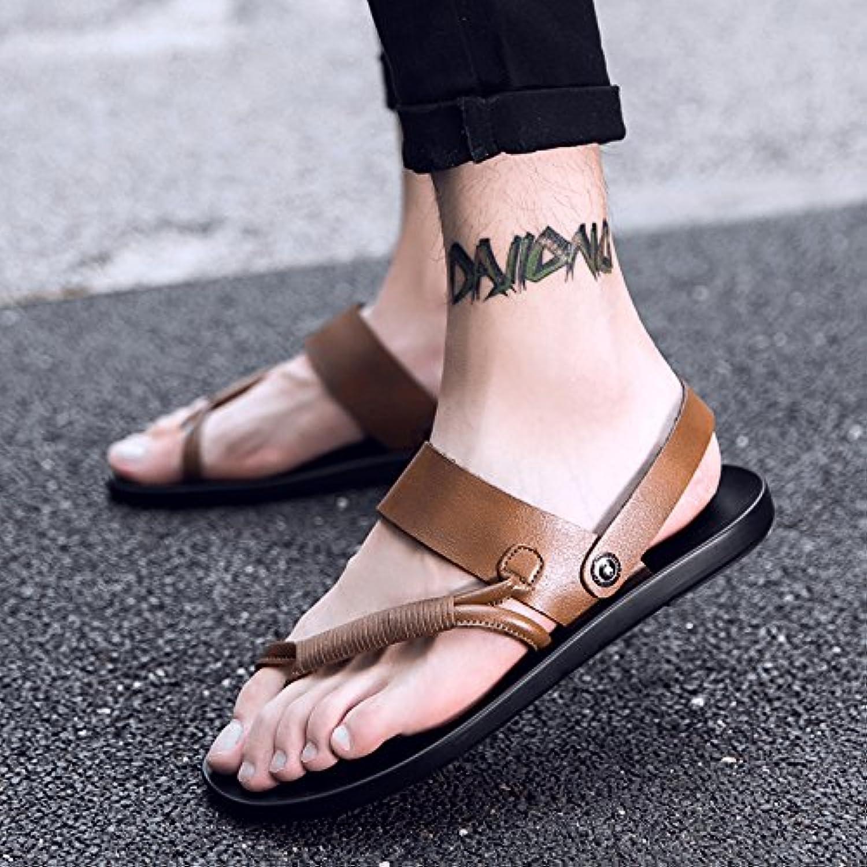 ZHANGJIA Nuevo Estilo Flip Flops Zapatillas para Hombres,39,Caqui