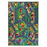 Kinderteppich, Straßenteppich, Spielteppich, Grau Grün! (200cmx300cm)