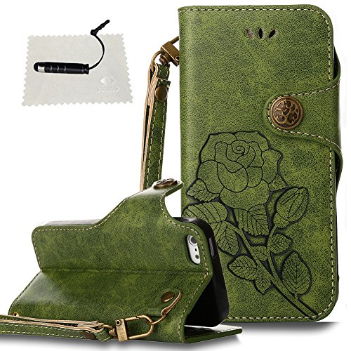 iphone 5 / 5S / SE Hülle Einhorn Rose Blumen Leder TOCASOHandyhülle für iphone 5 / 5S / SE Wallet Case Flip Brieftasche Lederhülle Holster Kartenfächer Magnet Etui - - Grün (Iphone 5s Case Eule Design)