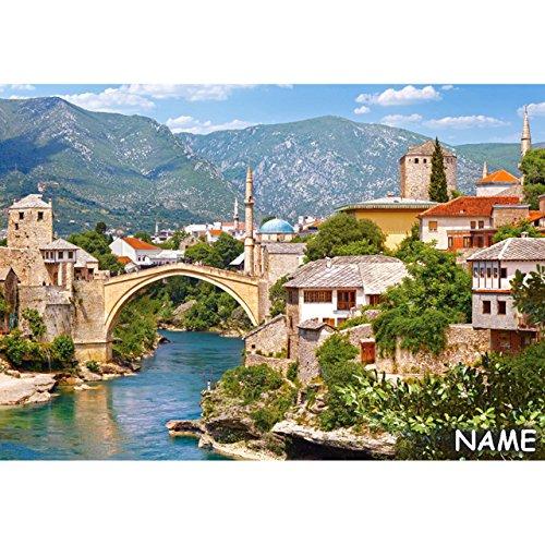 alles-meine.de GmbH Puzzle 1000 Teile -  Mostar , Bosnia and Herzegovina  - inkl. Name - Bosnien Herzegowina - Stadt - Wahrzeichen alte Brücke Stari Most - Bogenbrücke Mittelal..