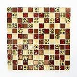 Fliesen Mosaik Mosaikfliesen Beige Rot Glas glänzend Küche Bad WC 8mm Neu #660