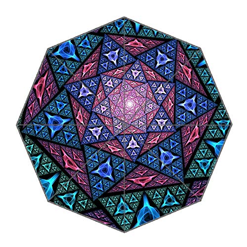Travel Umbrella- Windproof Umbrella Manual Open Close- Folding Compact Lightweight Umbrella, Mosaic Blue 8 Ribs
