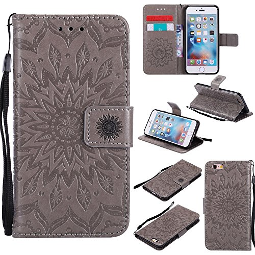 JIALUN-Telefon Fall Für Apple IPhone 6 6s Fall, mit Lanyard, Kartensteckplatz, Halterung, Magnetische Wölbung Sun Flower Flat Open Phone Shell ( Color : Brown ) Gray