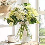Note. Miz Home 1 Set Transparent Glass Vase Hydrangea Flower Set Tabletop Vase for Home