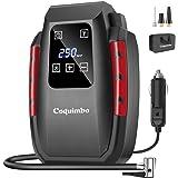 Coquimbo Compressore Portatile per Auto, Mini Pompa Elettrica con Schermo LCD Digitale e Torcia a LED, 12V Gonfiatore Pneumat