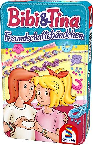 Schmidt Spiele 51404 Bibi und Tina, Freundschaftsbändchen in Metalldose, Reisespiel