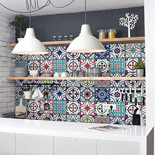 24 Adhesivo para azulejos 15x15 cm - PS00036 - Lisboa - Adhesivo decorativo para azulejos para baño y cocina - Stickers azulejos - Collage de azulejos