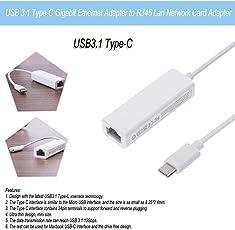 WireScorts Latest Speedy USB-C to Ethernet Adapter, USB 3.1 Type C to RJ45 Gigabit Ethernet LAN Network Adapter Compatible With 2017 iMac,2017/2016 MacBook Pro,2015 MacBook,ChromeBook Pixel ( 1 Year Warranty )