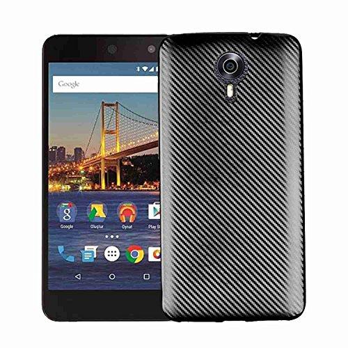 MOONCASE Google General Mobile 4G Hülle, Carbon Fiber Flexible Rüstung Handyhülle Ultra Slim Fallschutz Anti-Scratch Schutztasche Case für Google General Mobile 4G Schwarz