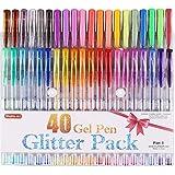 Shuttle Art 40colores con purpurina bolígrafos de gel, bolígrafo de Gel con Brillantina Set para adulto para colorear libros Craft garabatear