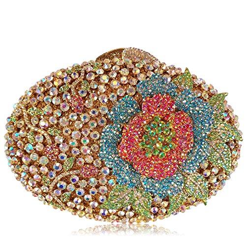 Donne Borse sera di lusso fiore Strass Portafogli donna bellezza preferito borsetta party di nozze portamonete frizione telaio metallico B