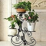 Pflanzentreppe Blumenstander Metall Blumenbank 3 Stufen S-förmig Design Garten Terrasse (Schwarz)