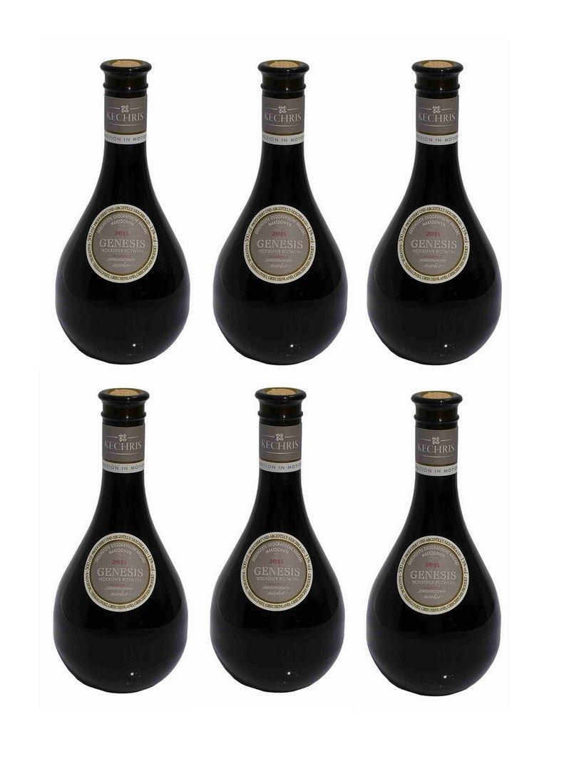 6x-Kechribari-GENESIS-trockener-Rotwein-aus-Griechenland-500ml-13-Vol-Xinomavro-Merlot-Makedonien-Kechri-roter-Wein-6er-Set-2x-Olivenl-Sachet-a-10ml-zum-testen