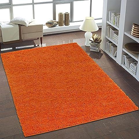 Uni Shaggy Alfombra Monótono Naranja Redondo y rectangular nuevo Öko Tex, polipropileno, naranja, 80 cm_x_150 cm