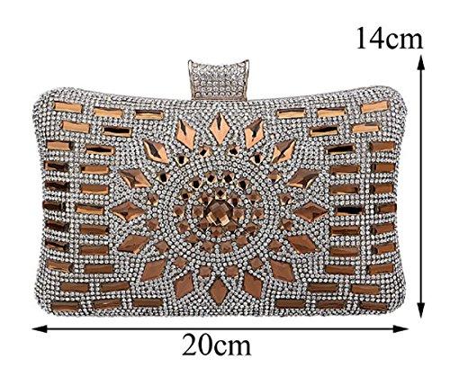Tina Women's Dazzling Rhinestone Diamonds Beaded Evening Bridal Clutch Purse Gold Gold