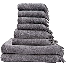 Juego de Casa Di G.Bassi 8 piezas Juego de 4 toallas de mano/30 x 50 cm 2 unidades (50 x 90 cm) 2 x 70 x 140 cm gris 4 x (2 x 30 x 50) (50 x 90 cm) 2 x 70 x 140 cm