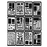 iBellete Stencil Pittura Kit Set di 12pezzi per Scrapbooking e Per Disegno e Scrittura e La Pittura e Per Foto e Per Decorazione da Parete e per Carta da Regalo e da Scheda e Perfetto Regalo