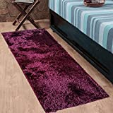 #6: Cloth Fusion Premuim Shaggy Carpet for Living Room 2 Feet x 4.5 Feet (Dark Maroon)