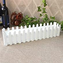 Mini valla blanca para flores artificiales, rosas artificiales, valla de madera blanca con plástico