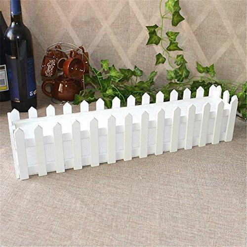Mini valla blanca para flores artificiales, rosas artificiales, valla de madera blanca con plástico de espuma para plantas artificiales, contenedor para decoración del hogar, 11.81 x 2.95 x 3.15inch