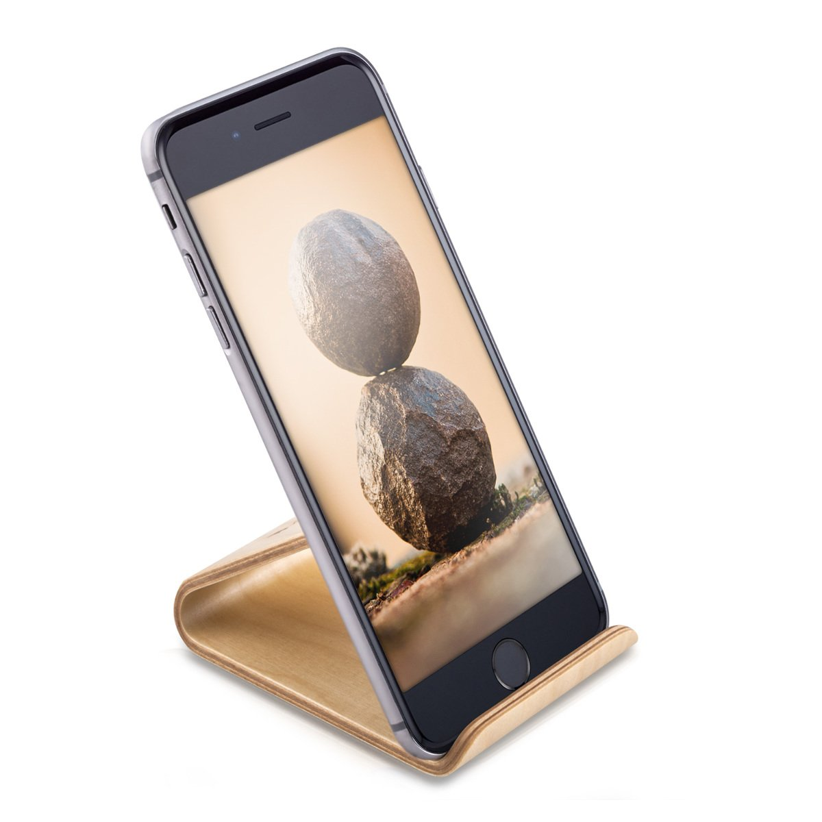 Porta Iphone Da Scrivania.Kalibri Supporto Smartphone Universale Da Tavolo Stand Per Cellulare Tablet Apple Samsung Ipad Sostegno Dock Iphone Per Scrivania Legno Betulla