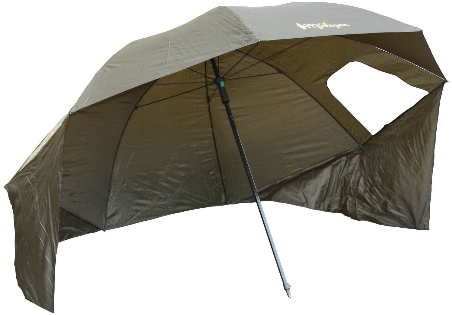 """Michigan Fishing Umbrella Shelter with Top Tilt Tent/Brolly/Bivvy with FREE Carry Bag, Olive Green, 75"""" or 86"""" 1"""
