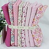 Tela de algodón de patchwork y manualidades serie caliente Rosa pequeña pieza 24x24cm Rosa