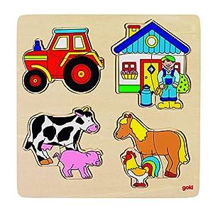 GOKI- Puzzles de maderaPuzzles de maderaGOKIGranja, Encaje, Multicolor (1)