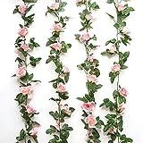 Romote Lot de 2 guirlandes (5m), style roses grimpantes artificielles, fleurs pour hôtel, mariage, maison, fête, décoration de jardin, rose