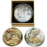 Pisapapeles de vidrio, diseño de mapa del mundo semiesférico, 8 cm