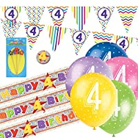 4th Birthday Kit: 4th Birthday Bunting, Banners, Balloons, Candle