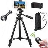 Kamerastativ 102 cm aluminiumstativ av aluminium med mobiltelefonhållare och Bluetooth fjärrkontroll mobiltelefonstativ för i